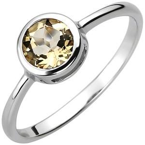 Dame Ring 925 Sterling Silber 1 Citrin gelb Silberring