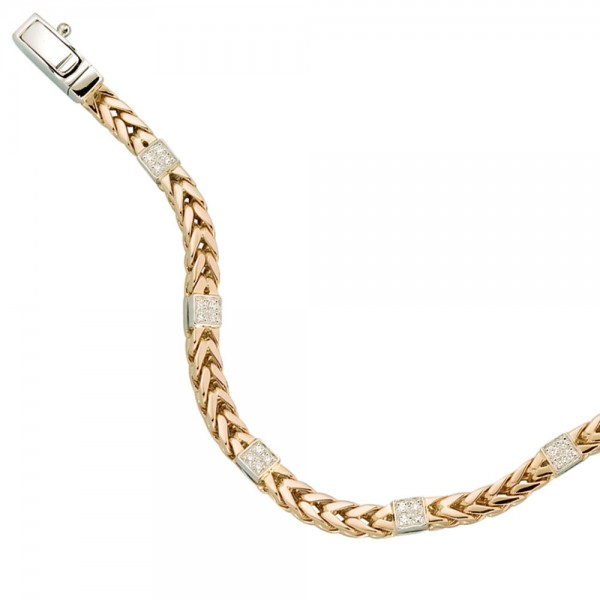 Armband 585 Gold Rotgold Weißgold bicolor 28 Diamanten Brillanten 19 cm