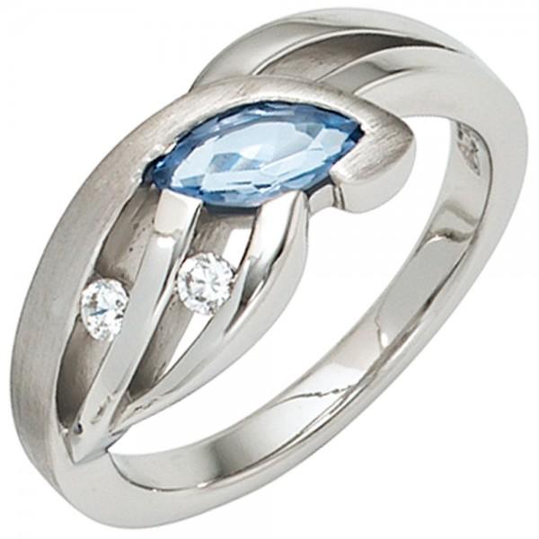 Damen Ring 925 Sterling Silber mattiert mit Zirkonia hellblau blau Silberring