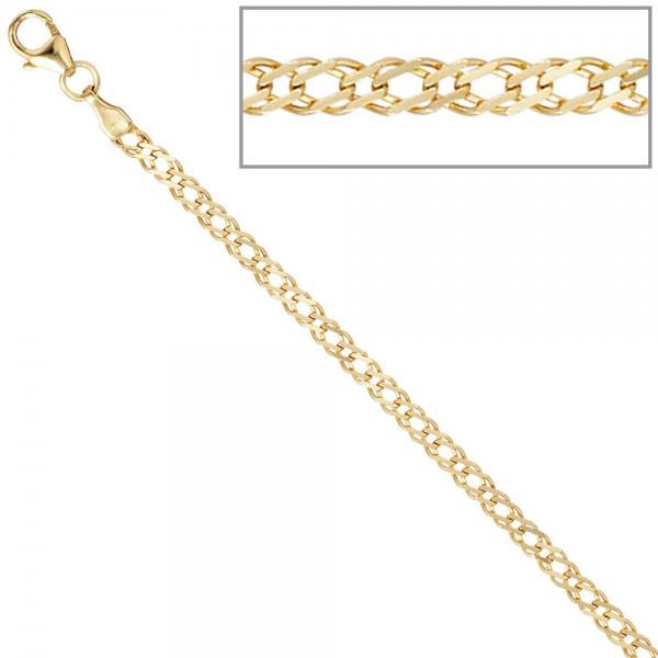 Zwillings-Panzerkette 333 Gelbgold 2,7 mm 50 cm Gold Kette Halskette Goldkette