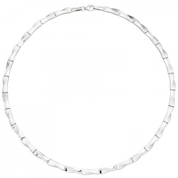 Collier Halskette 925 Silber 154 Zirkonia 45 cm Silberkette