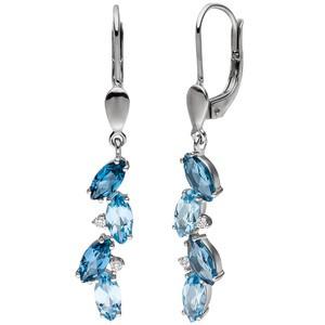 Ohrhänger 585 Gold Weißgold 4 Diamanten Brillianten 8 Blautopase hellblau blau