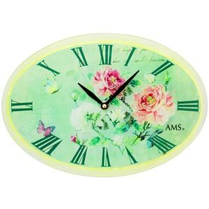 AMS9479 Wanduhr Quarz analog oval grün vitage antik retro Rosen Schmetterlinge