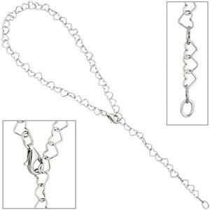 Fußkettchen Fußkette Herz 925 Sterling Silber 27 cm variabel verkürzbar