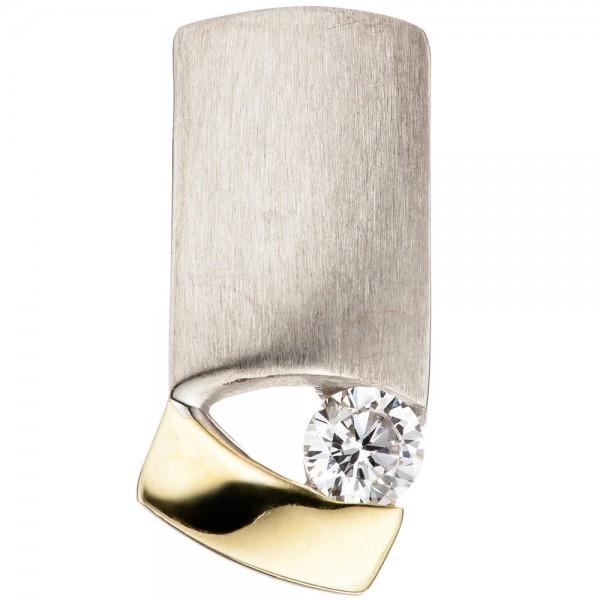Anhänger 925 Silber bicolor vergoldet matt mattiert 1 Zirkonia