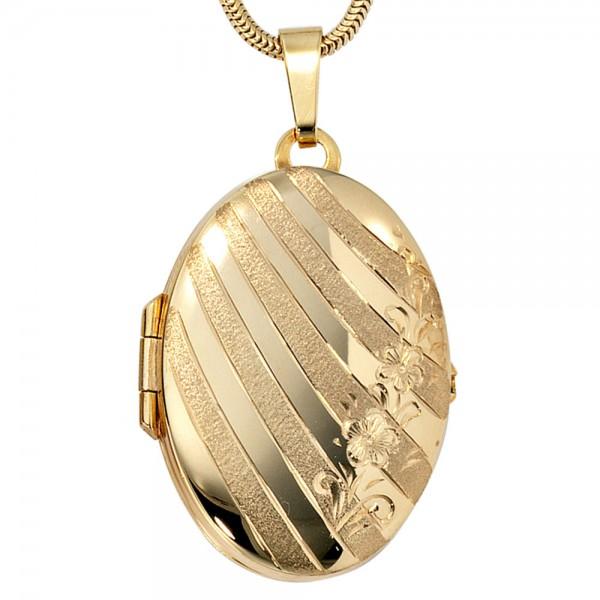 Medaillon oval für 2 Fotos 333 Gold Gelbgold matt Anhänger zum Öffnen