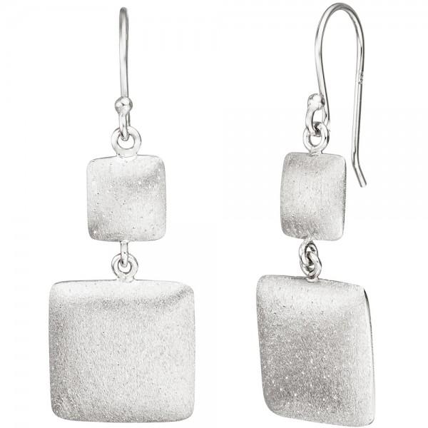 Ohrhänger quadratisch 925 Sterling Silber matt mattiert Ohrringe Silberohrringe