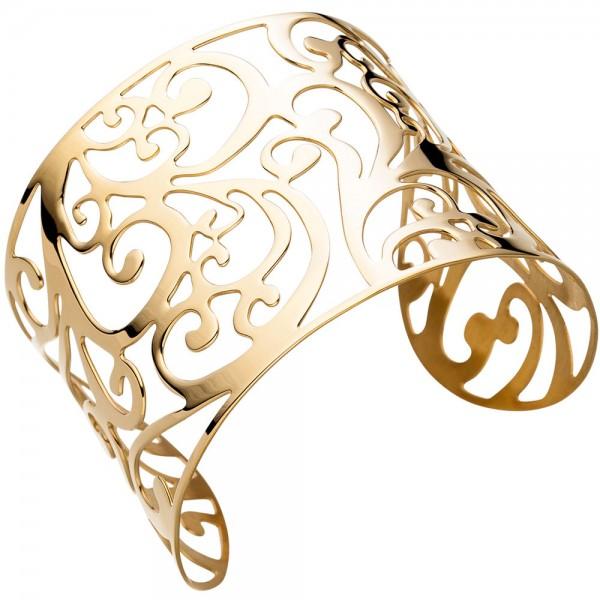 Armspange / offener Armreif aus Edelstahl gold farben beschichtet breit