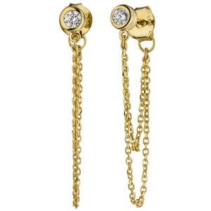 Ohrhänger 925 Sterling Silber gold vergoldet 2 Zirkonia Ohrringe Ohrstecker