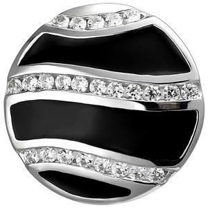 Anhänger 925 Sterling Silber mit schwarzer Emaillie und 24 Zirkonia