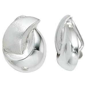 Ohrclips 925 Sterling Silber rhodiniert mattiert Ohrringe Ohrclips