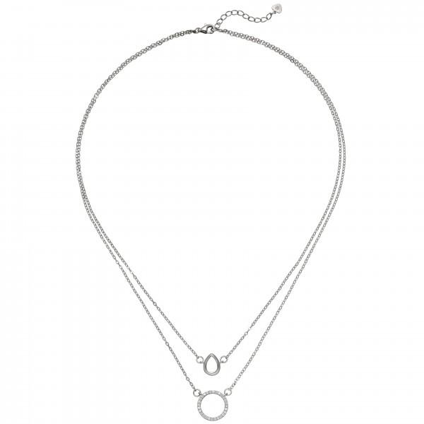 Kette mit Anhängern 2 - reihig 925 Sterling Silber 28 Zirkonia 46 cm Halskette