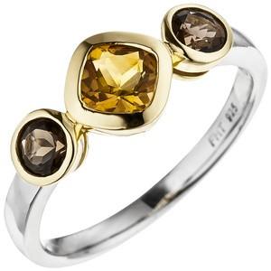 Damen Ring 925 Silber bicolor vergoldet 1 Citrin 2 Rauchquarze Silberring