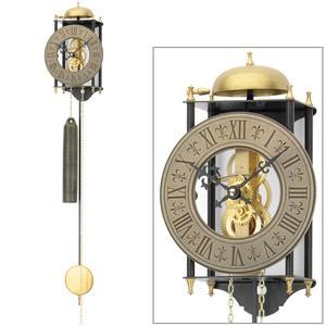 AMS301 Wanduhr mit Pendel mechanisch golden schwarz Metall Pendeluhr Skelettuhr
