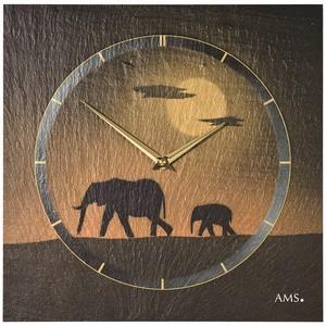 AMS9523 Wanduhr Quarz Schiefer Naturschiefer Schieferuhr golden Elefanten