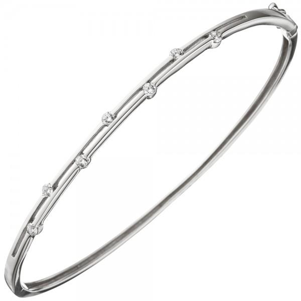 Armreif Armband 925 Sterling Silber 7 Zirkonia Silberarmband schmal dünn