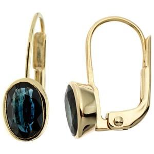 Boutons oval 333 Gold Gelbgold 2 Safire blau Ohrringe Goldohrringe
