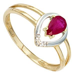 Damen Ring 585 Gold Gelbgold bicolor 1 Rubin rot 3 Diamanten Brillianten