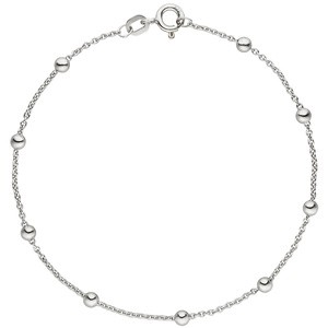 Fußkettchen Fußkette mit Kugeln 925 Sterling Silber 25 cm Silberkette