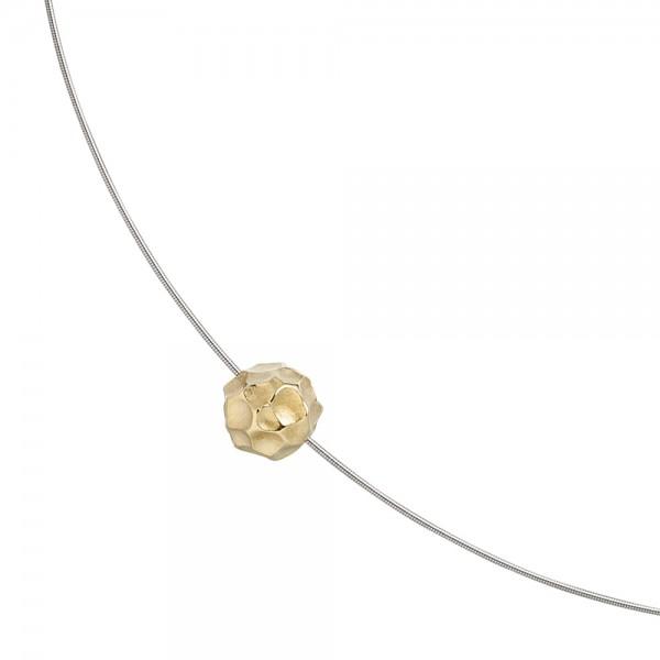 Collier Kette mit Anhänger aus Edelstahl mit 585 Gold kombiniert matt 42 cm