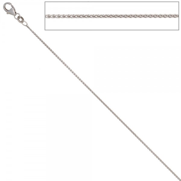 Zopfkette 333 Weißgold 1,0 mm 42 cm Gold Kette Halskette Weißgoldkette Karabiner
