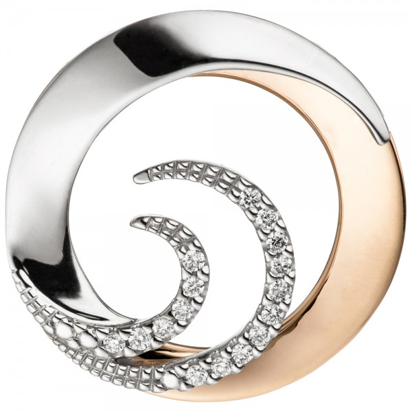 Anhänger rund 585 Gold Weißgold Rotgold bicolor 16 Diamanten Brillanten 0,08ct.