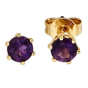 Ohrstecker rund 585 Gold Gelbgold 2 Amethyste lila violett Ohrringe
