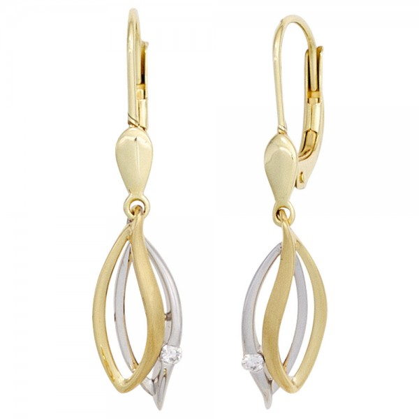 Boutons 585 Gold Gelbgold Weißgold 2 Diamanten Brillanten Ohrringe Ohrhänger