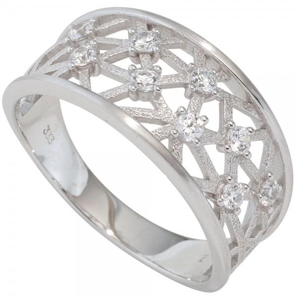 Damen Ring breit 333 Gold Weißgold mattiert 9 Zirkonia Goldring Weißgoldring