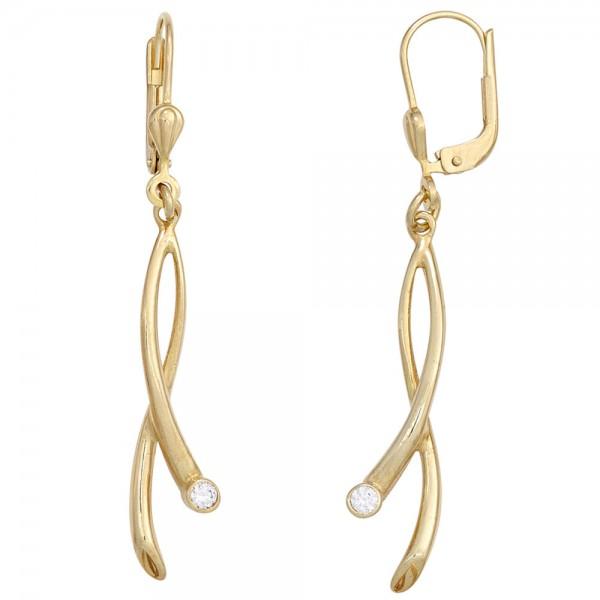 Boutons 375 Gold Gelbgold 2 Zirkonia Ohrringe Ohrhänger Goldohrringe