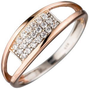 Damen Ring 925 Sterling Silber bicolor mit Zirkonia Silberring