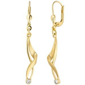 Ohrhänger 375 Gold Gelbgold matt 2 Zirkonia Ohrringe Boutons Goldohrringe