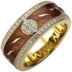 Damen Ring 925 Sterling Silber gold vergoldet 67 Zirkonia und Emaille -Einlage