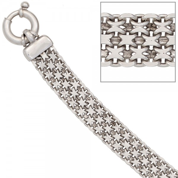 Armband 925 Sterling Silber rhodiniert 20 cm Silberarmband Federring
