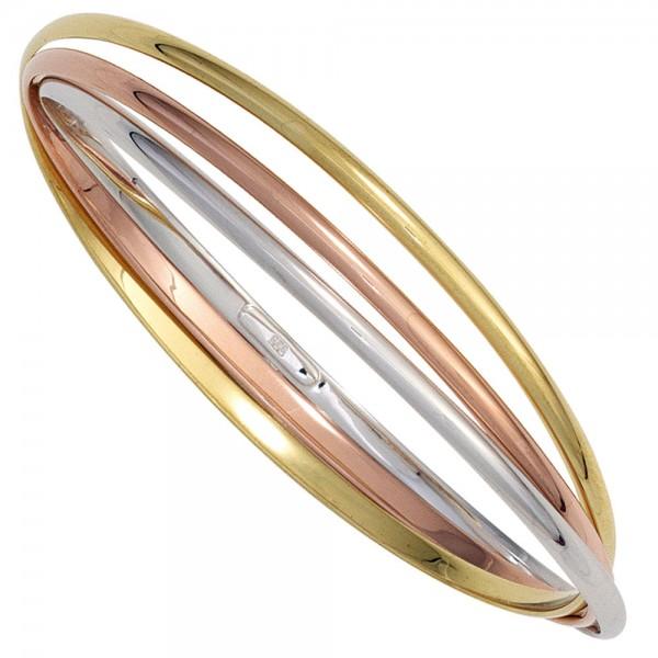Armreif Armband 925 Sterling Silber dreifarbig tricolor vergoldet