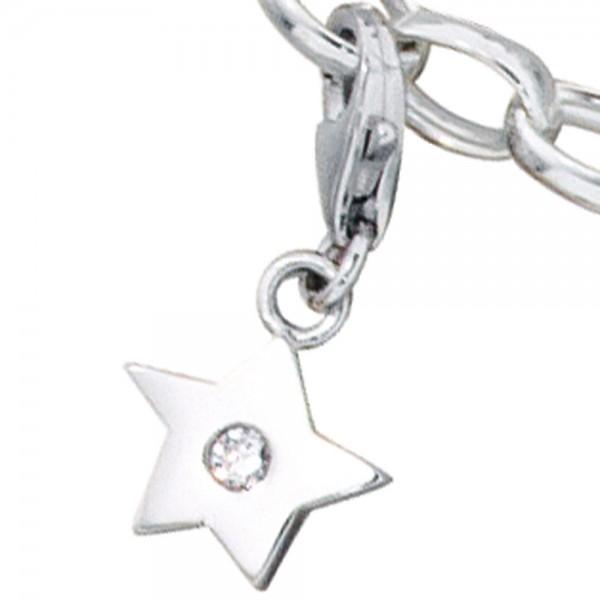 Einhänger Charm Stern 925 Sterling Silber rhodiniert 1 Zirkonia