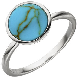 Damen Ring 925 Sterling Silber 1 Türkis - Imitation Silberring