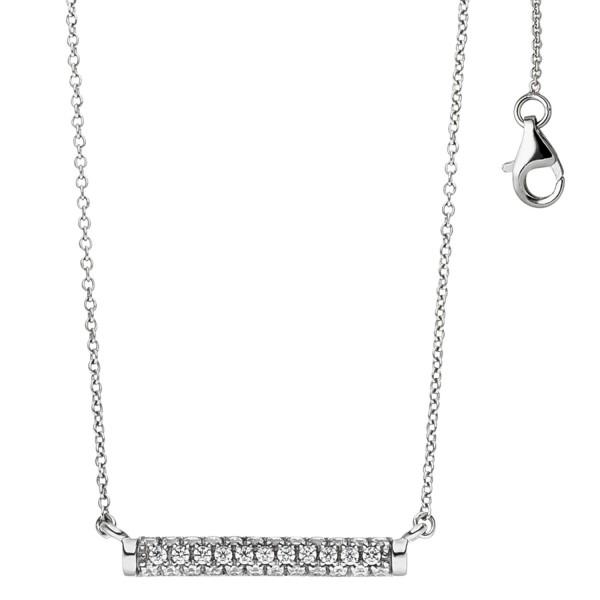 Collier Halskette 925 Sterling Silber mit 35 Zirkonia 45 cm Kette Silberkette