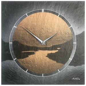 AMS 9513Wanduhr Quarz Schiefer Naturschiefer Motiv Fjord Schieferuhr