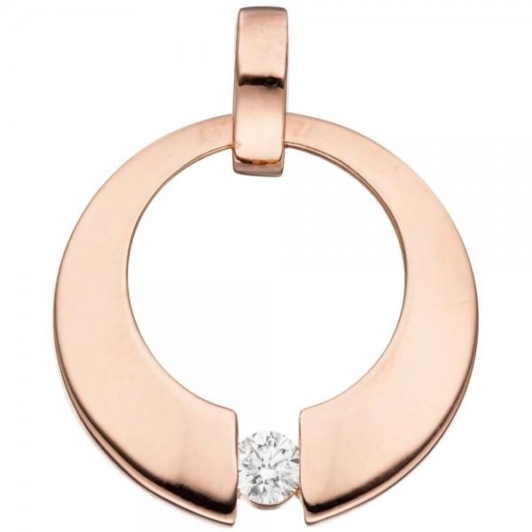 Anhänger rund 585 Gold Rotgold 1 Diamant Brillant 0,08ct. Rotgoldanhänger