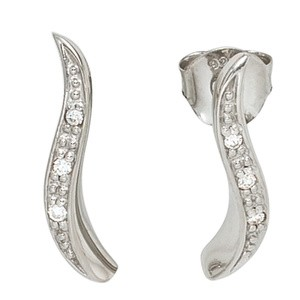 Ohrstecker925 Sterling Silber rhodiniert 6 Zirkonia Ohrringe Silberohrringe