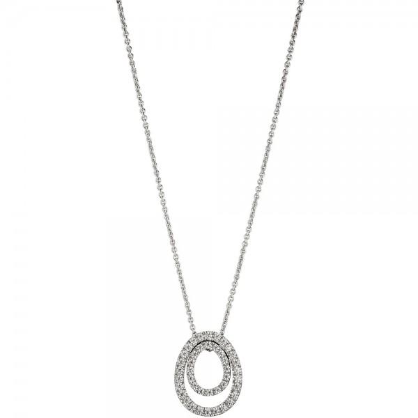 Collier Kette mit Anhänger 925 Sterling Silber mit Zirkonia 42 cm Silberkette