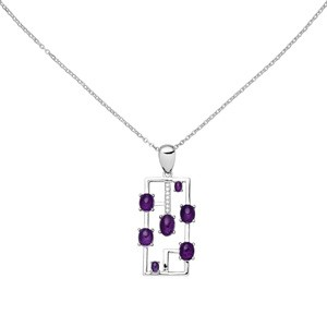 Collier 925 Sterling Silber 7 Amethyst-Cabochons lila 7 Zirkonia 45 cm