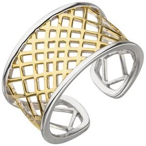 Damen Ring offen Sterling Silber bicolor vergoldet