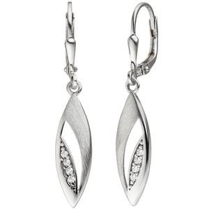 Ohrhänger 925 Silber teil mattiert 8 Zirkonia Ohrringe Boutons Silberohrringe