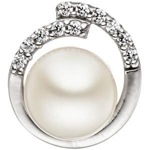 Anhänger 925 Sterling Silber mit 1 Süßwasser Perle und Zirkonia Perlenanhänger