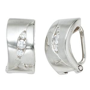 Ohrclips 925 Sterling Silber rhodiniert mattiert 6 Zirkonia Ohrring Clips