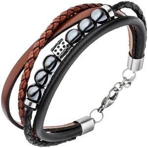 Herren Armband 4 - reihig Leder schwarz braun Hämatit Kugeln und Edelstahl 23 cm
