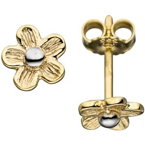 Ohrstecker Blume 333 Gold Gelbgold matt bicoloe Ohrringe Goldohrstecker