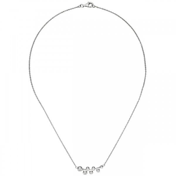 Collier Halskette 925 Sterling Silber 7 Zirkonia 45 cm Silberkette